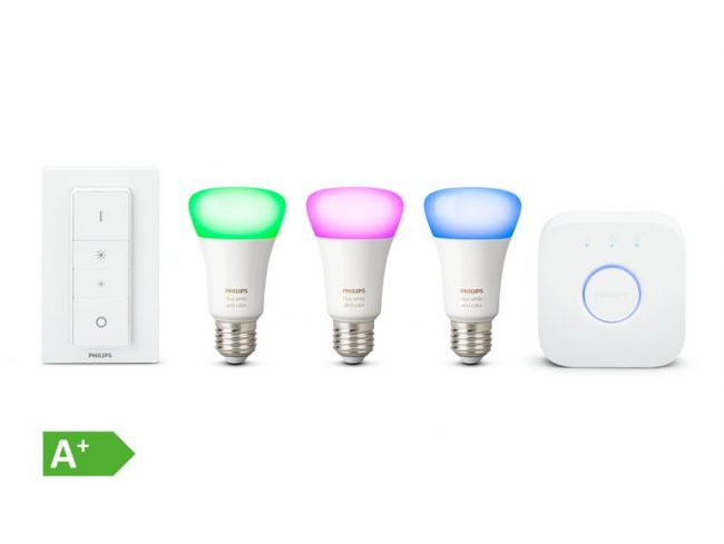 Philips Hue White & Color Ambiance, Starter Set E27, Bridge & Dimmschalter
