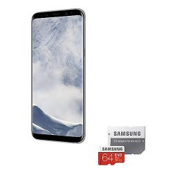 Samsung GALAXY S8+ arctic silver 64GB Android Smartphone + Samsung EVO Plus 64GB