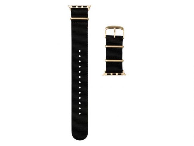 Roobaya NATO, Armband für Apple Watch 42 mm, Nylon, schwarz/gold