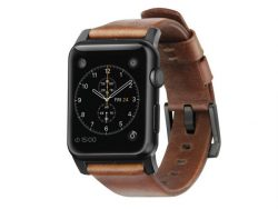 Nomad Leather Strap, Armband für Apple Watch 42 mm, Leder, schwarz-braun