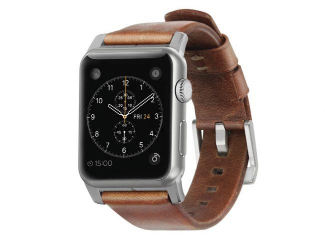 Nomad Leather Strap, Armband für Apple Watch 42 mm, Leder, silber-braun