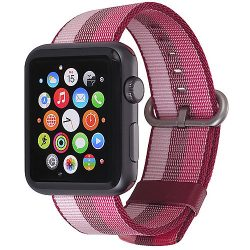 StilGut Nylon Armband für Apple Watch Serie 1-3 42mm cherry