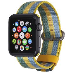 StilGut Nylon Armband für Apple Watch Serie 1-3 42mm gelb/blau