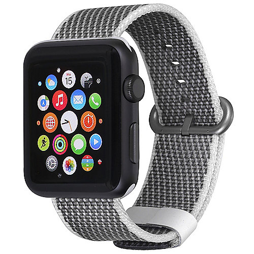 StilGut Nylon Armband für Apple Watch Serie 1-3 42mm grau/weiß