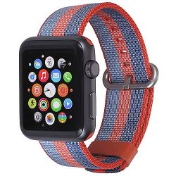StilGut Nylon Armband für Apple Watch Serie 1-3 42mm orange/blau