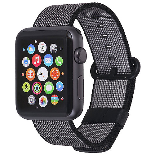 StilGut Nylon Armband für Apple Watch Serie 1-3 42mm schwarz