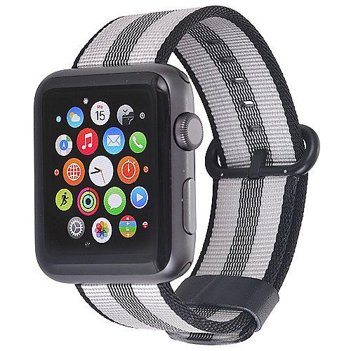 StilGut Nylon Armband für Apple Watch Serie 1-3 42mm schwarz/grau