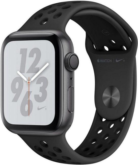 Apple Nike+ Series 4 GPS, Aluminiumgehäuse mit Nike Sportarmband 44mm Watch (watchOS 5)