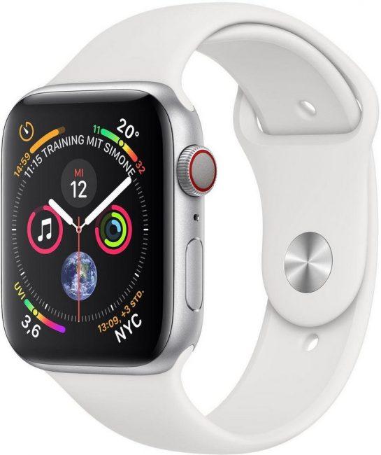 Apple Series 4 GPS, Aluminiumgehäuse mit Sportarmband 40mm Watch (watchOS 5)