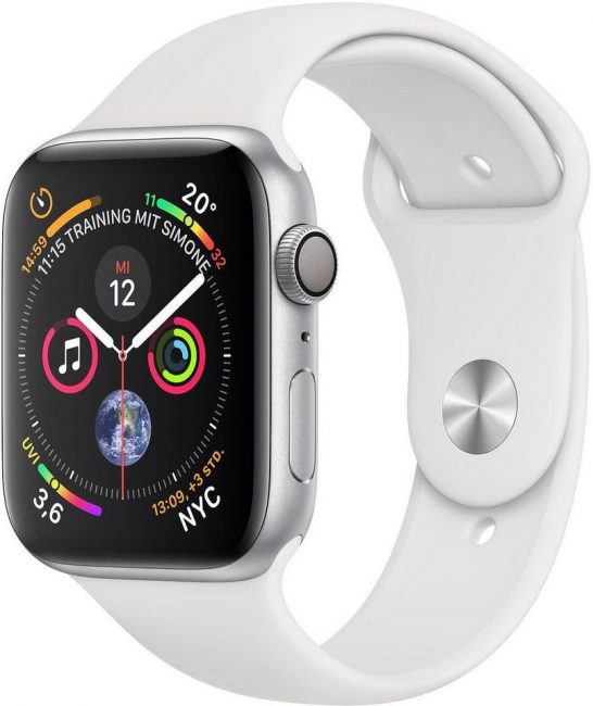 Apple Series 4 GPS, Aluminiumgehäuse mit Sportarmband 44mm Watch (watchOS 5)