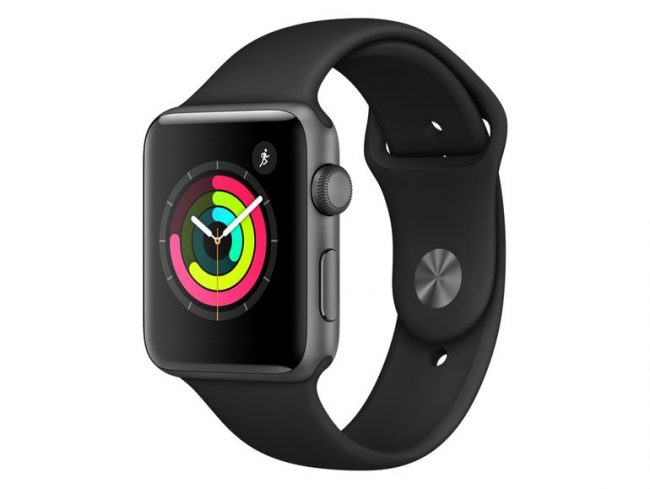 Apple Watch Series 3, 42 mm, Aluminiumgehäuse space grau, Sportarmband schwarz