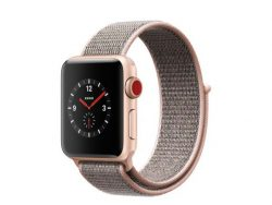 Apple Watch Series 3, GPS & Cellular, 38 mm Alu. gold, Sport Loop sandrosa