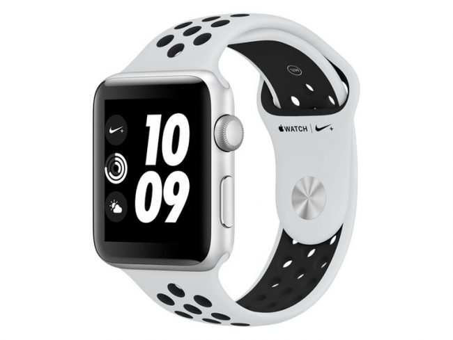 Apple Watch Nike+, 42 mm, Aluminium silber, Sportarmband pure platin/blk, 2017