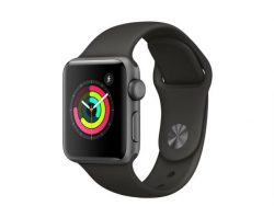Apple Watch Series 3, 38 mm, Aluminiumgehäuse space grau, Sportarmband schwarz