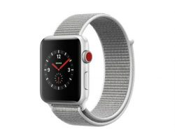 Apple Watch Series 3, GPS & Cellular, 38 mm Alu. silber, Sport Loop grau