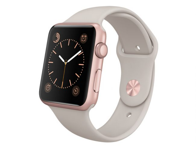 Apple Watch Sport, 42 mm, Aluminiumgehäuse roségold, Sportarmband stein