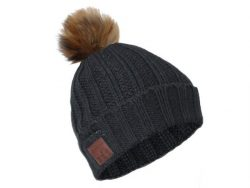 Networx Bommel Beanie 2.0, Mütze mit Bluetooth-Headset, Bluetooth 4.1, grau