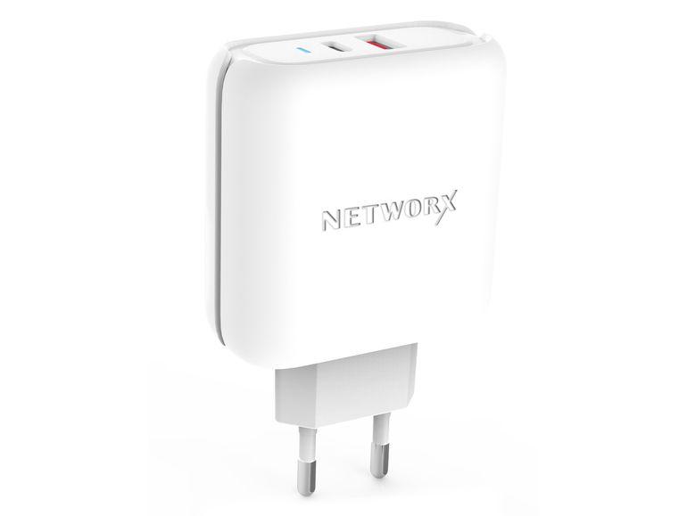 Networx USB-C Netzteil, 1x USB Typ A, 1x USB Typ C, schnellladefähig, weiß