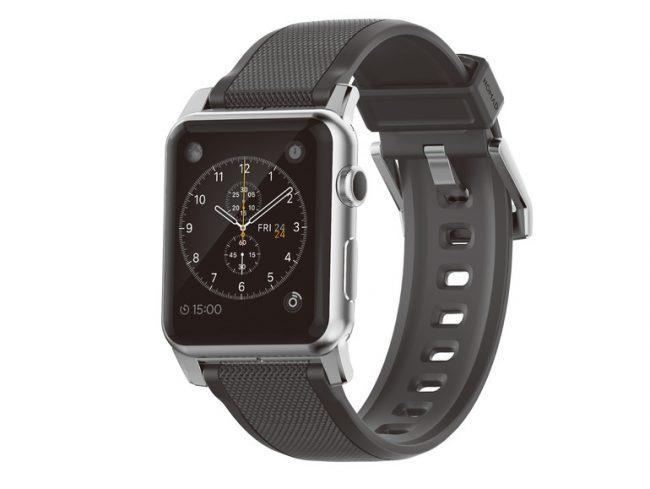 Nomad Silicone Strap, Armband für Apple Watch 42 mm, silber-schwarz