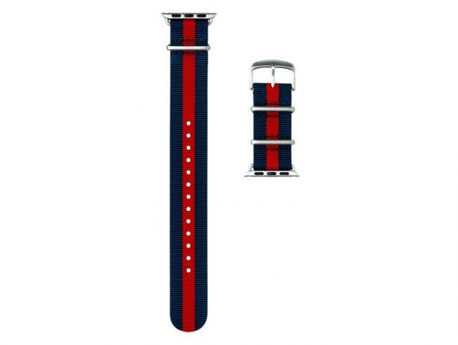 Roobaya NATO, Armband für Apple Watch 42 mm, Nylon, dunkelblau-rot/silber
