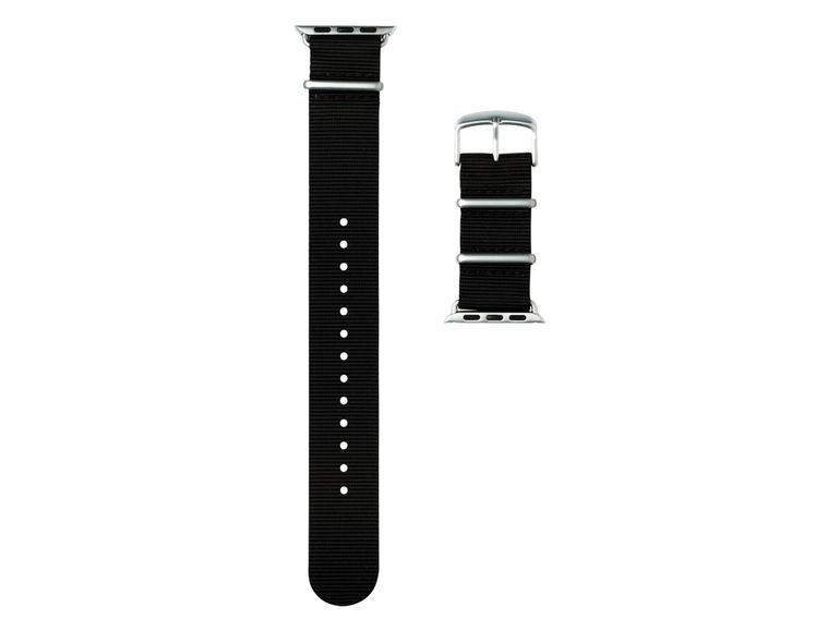 Roobaya NATO, Armband für Apple Watch 42 mm, Nylon, schwarz/silber
