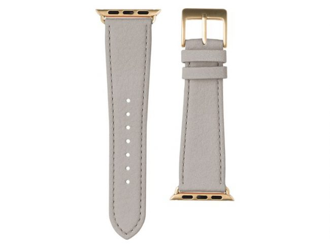 Roobaya Nappa, Armband für Apple Watch 38 mm, Nappaleder, hellgrau/gold
